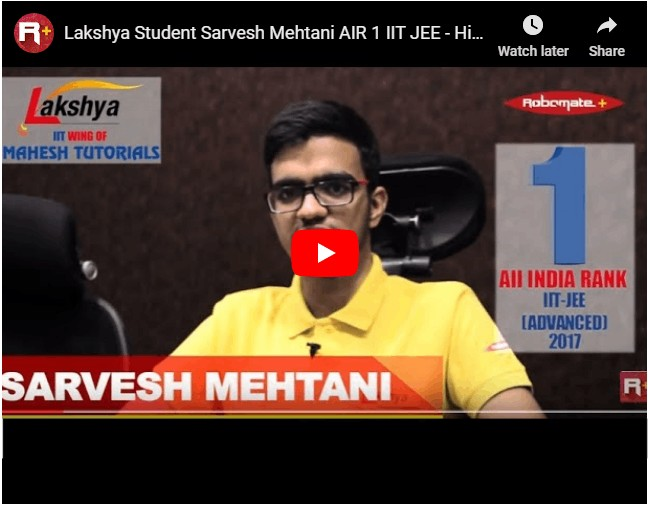 Sarvesh Mahtani topper in iit jee